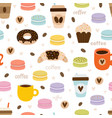 hand drawn coffee seamless pattern set coffee vector image