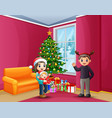 happy family celebrating a christmas at house vector image
