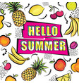 hello summer card tropical fuit set dotted vector image vector image