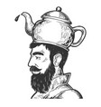 man with kettle teapot hat engraving style vector image