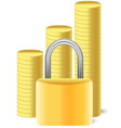 money icon with lock and coins vector image