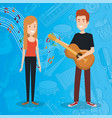 music festival live with couple playing guitar vector image vector image