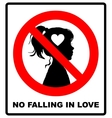 No falling in love label vector image vector image