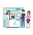pharmacy with pharmacist in counter vector image