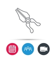 Pliers icon Repairing fix tool sign vector image vector image