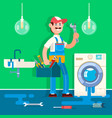 plumber repairing pipe on bathroom vector image