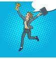 Pop Art Business Woman with Golden Winner Cup vector image vector image