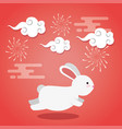 rabbit running with clouds and fireworks vector image vector image
