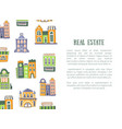 real estate banner template with cute houses and vector image
