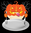 scary pumpkin holding spoon and knives on dish vector image vector image