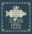 seafood menu with hand tray fish sailing ship