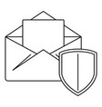 secured mail icon outline style vector image vector image