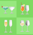 set of refreshing cocktail empty glasses margarita vector image vector image