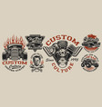 set vintage hot rod designs on light vector image vector image