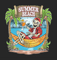 skull summer beach coconut tree artwork vector image vector image