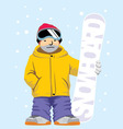 snowboarder pose with board vector image vector image