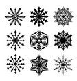 snowflakes black isolated on white vector image