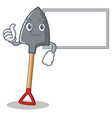 thumbs up with board shovel character cartoon vector image vector image