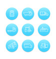 transportation line icons vector image vector image