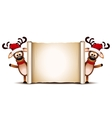 Two deer on Christmas greeting card vector image
