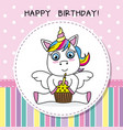 unicorn with cake vector image vector image