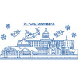 usa minnesota st paul winter city skyline vector image vector image