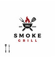 vintage grill barbecue barbecue bbq with crossed vector image vector image