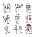 wedding couple doodle bride and groom vector image vector image