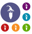 wizard icons set vector image vector image