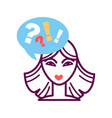 woman portrait icon with speech bubble question vector image vector image
