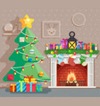 year tree winter holiday room vector image vector image