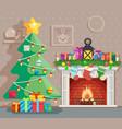 year tree winter holiday room vector image