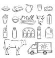 Set Hand drawn decorative milk icons vector image