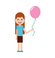 school happy girl holding balloon celebration vector image