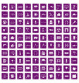 100 architecture icons set grunge purple vector image vector image