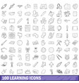 100 learning icons set outline style vector image vector image