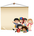 blank sign template with boys and girls vector image vector image