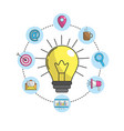 bulb idea with technology icons vector image vector image