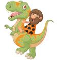 Carton caveman riding a dinosaur vector image