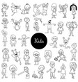 cartoon kids black and white collection vector image vector image