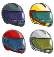 cartoon motorcycle racing helmet icon set vector image