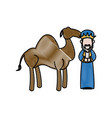 cartoon wise king with camel manger characters vector image vector image