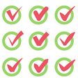 Check mark icons Red tick check marks in green vector image