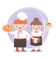 chefs girl and boy with pizza and slice cake vector image