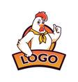 chicken logo mascot template vector image vector image
