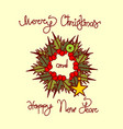 christmas and new year greeting card with garland vector image