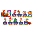 christmas train on white background vector image vector image
