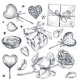 collection hand drawn vintage valentine vector image