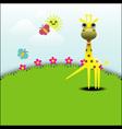 Cute giraffe standing in grassland vector image vector image
