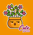 cute lovely kawaii house plants cartoons vector image vector image